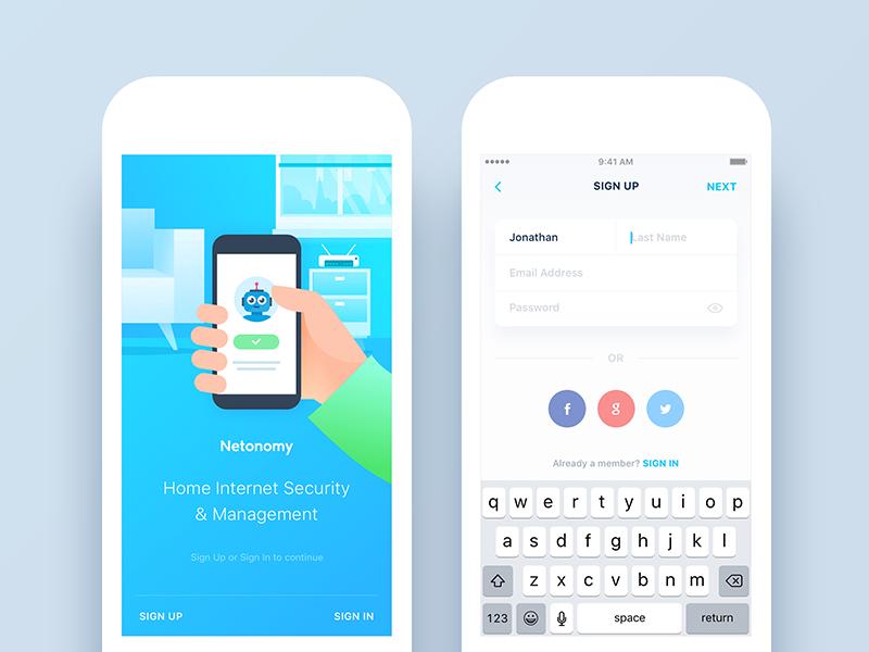 Netonomy App Redesign Onboarding & Sign Up App, Sign
