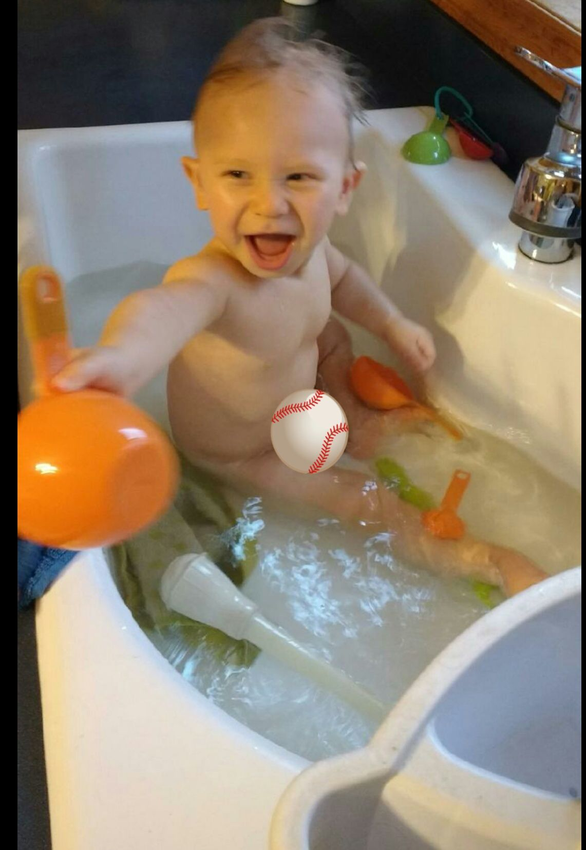 Loving bath time in grandmas kitchen sink | My First Grandchild ...