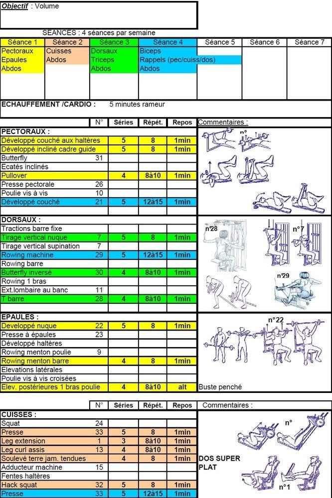 Préférence Programmes objectif: Volume musculaire de Exercices de musculation  XL46