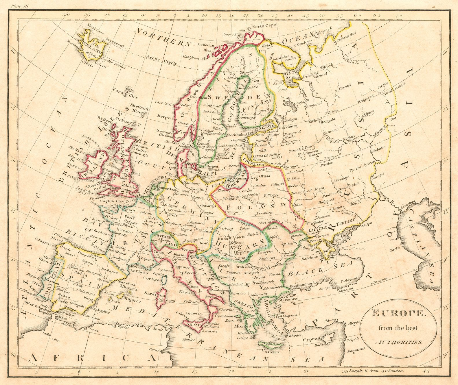 europe from the best authorities anonymous 1790 london illustration map perhaps from guthries geography rather detailed includes european russia