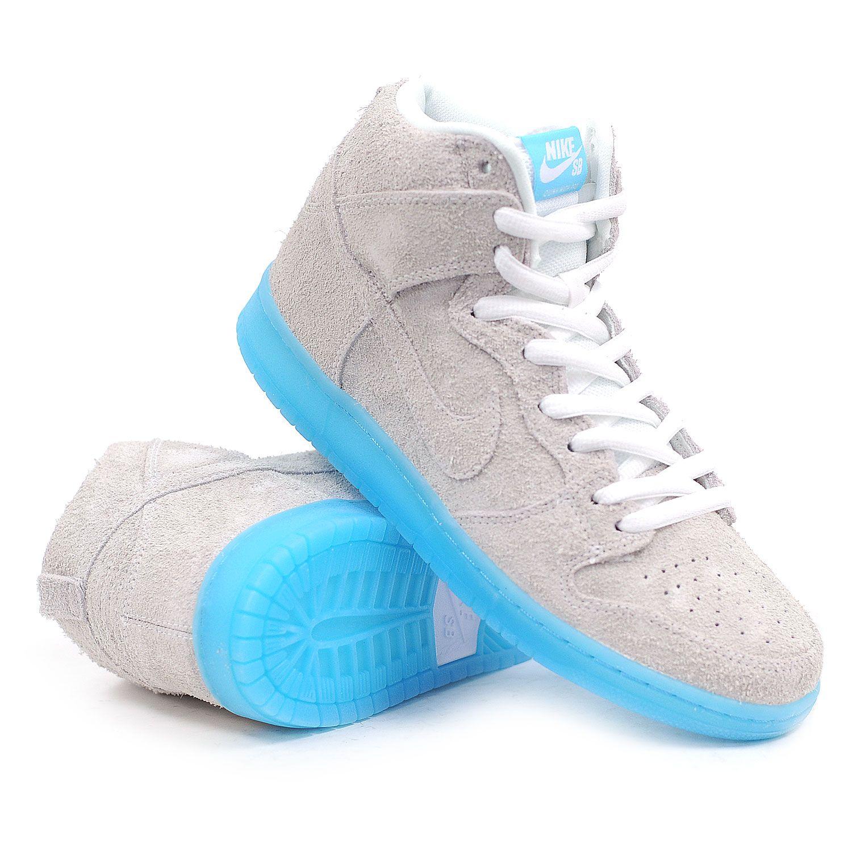 Nike SB Dunk High Premium SB (White/White-Polarized Blue) Men's Skate