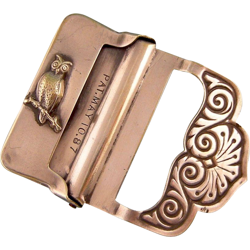 Antique Victorian Buckle With Owl Patent 1887 From Steig On Ruby Lane Vintage Belt Buckles Buckle Belt Buckles