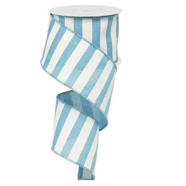 Horizontal Stripe Ribbon Color: Turquoise, White Size: 2.5
