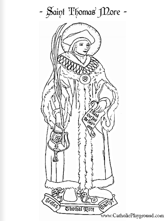 Saint Thomas More Coloring Page June 22nd