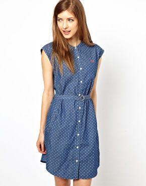 0282a4c0ad6ad Fred Perry Polka Dot Grandad Collar Shirt Dress   My Style   Grandad ...