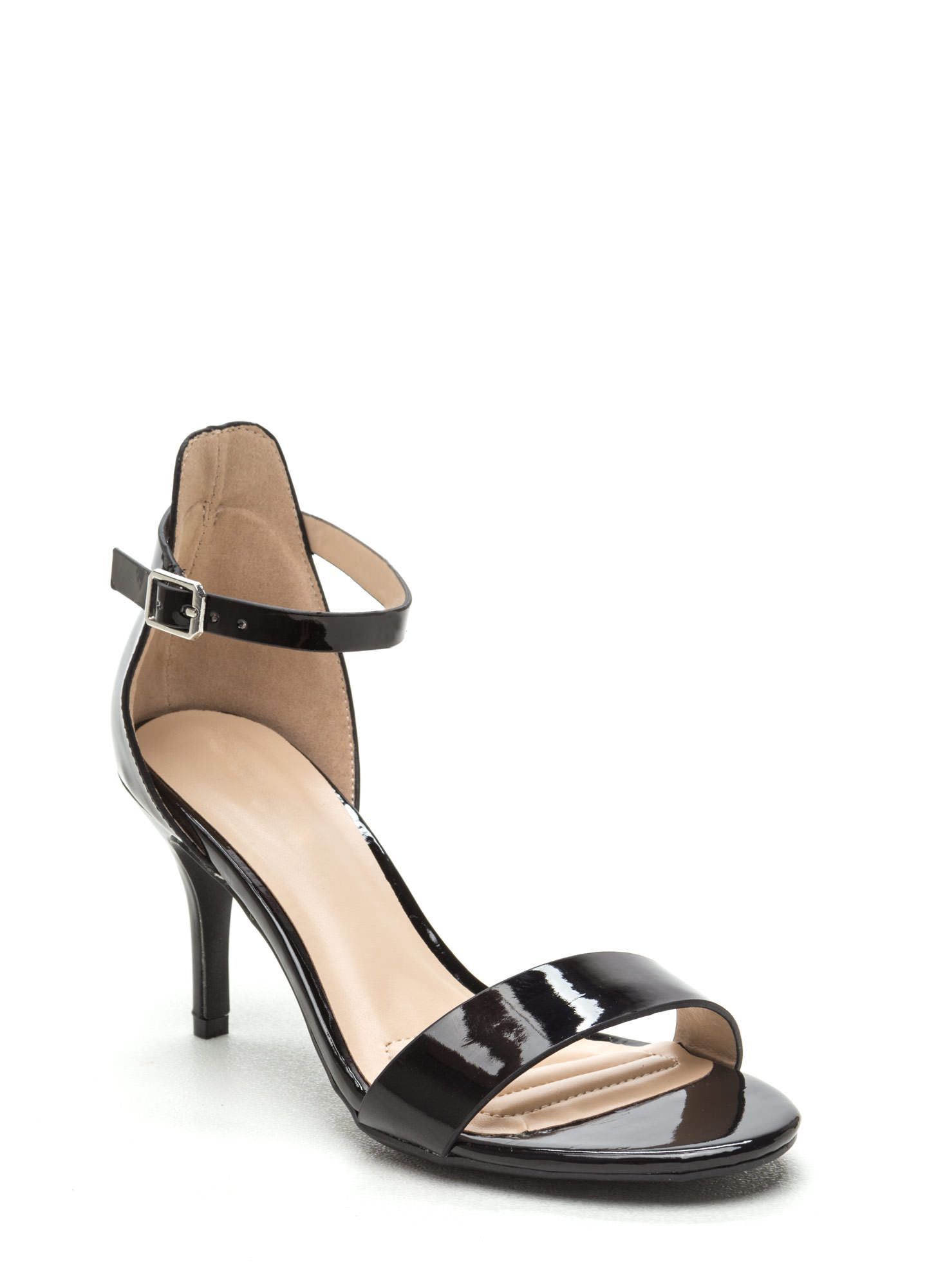 6f449f949cf Come Up Short Shiny Strappy Heels BLACK - nude available too. 3 inches high.