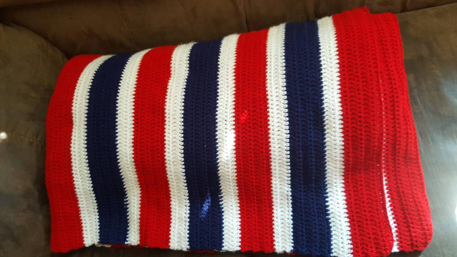 Red white and blue striped crochet blanket. Oversized throw. Crocheted blankets. Crochet American flag. American flag afghan. blanket original gifts handmade gifts gift ideas holiday decorating handmade blanket crochet blankets trending gift ideas winter finds Winter trends christmas trends Holiday gift guide Christmas gift 100.00 USD #goriani