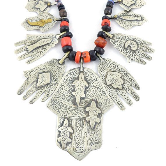 Antique Moroccan Silver Hamsa And Coral By Ethnicvintagejewelry