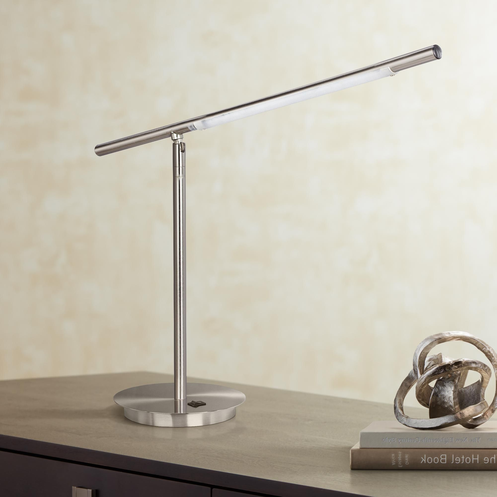 Telesco Satin Chrome Modern Led Desk Lamp Dengan Gambar