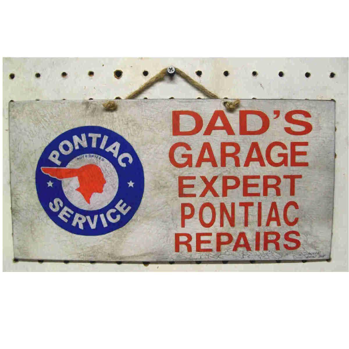 Garage sign dads garage pontiac vintage look by retroartist