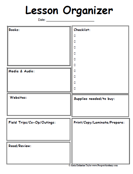 Lesson Organizer Prep Sheet Omg Where Have You Been All My Life - Blank daily lesson plan template