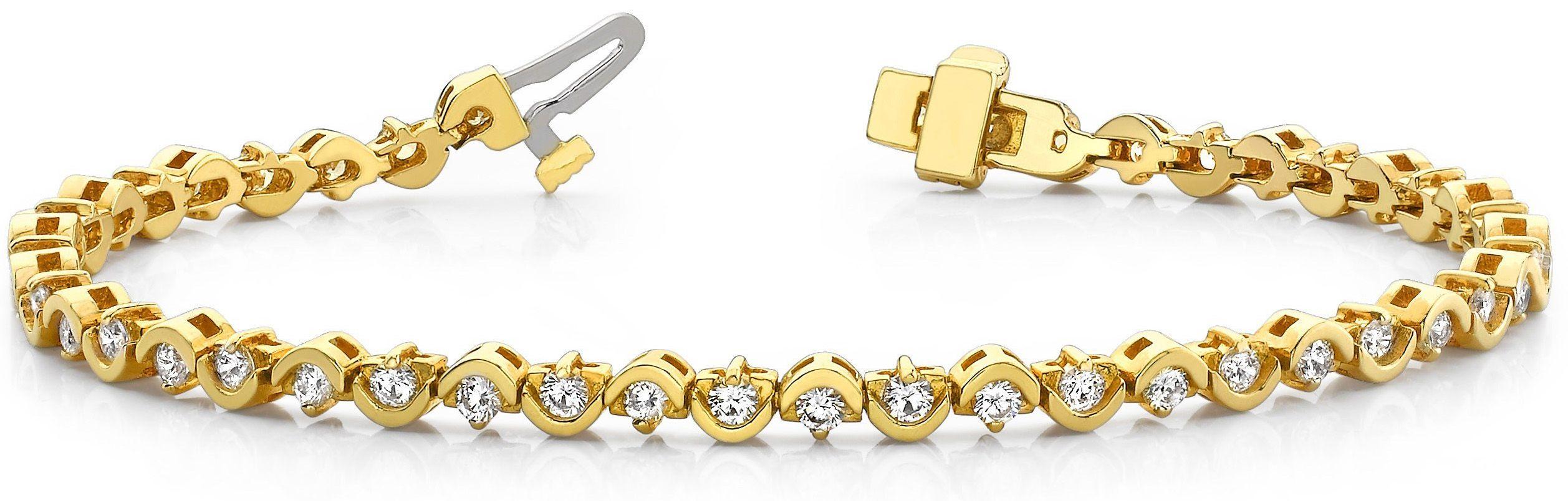 Diamant Armband 2.00 Karat Brillanten 14K 585 Gelbgold in