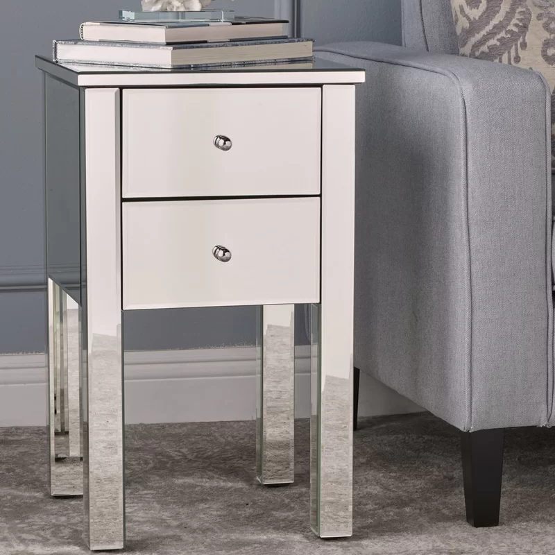 Dalveen Mirror End Table Mirrored End Table Mirrored Nightstand End Tables