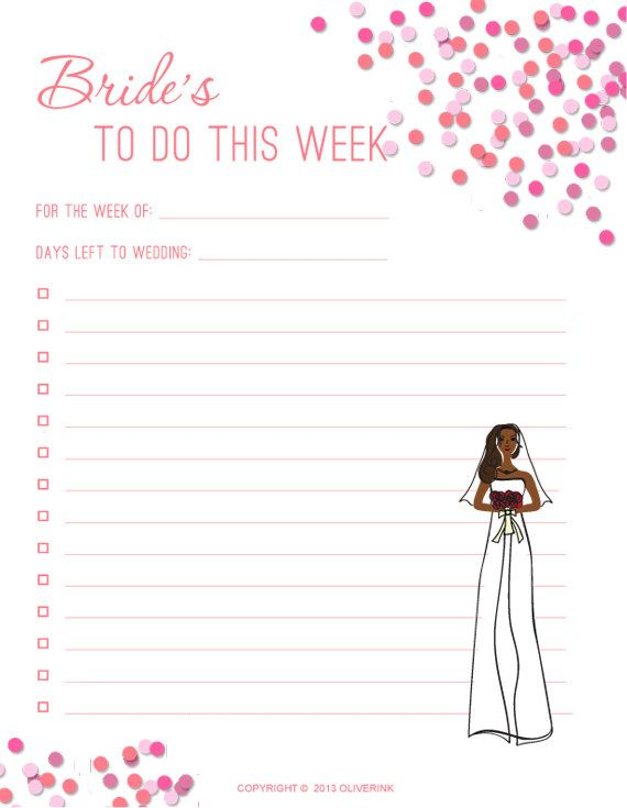Printable Bride Notes To Do List Instant Digital By Oliverink At Www