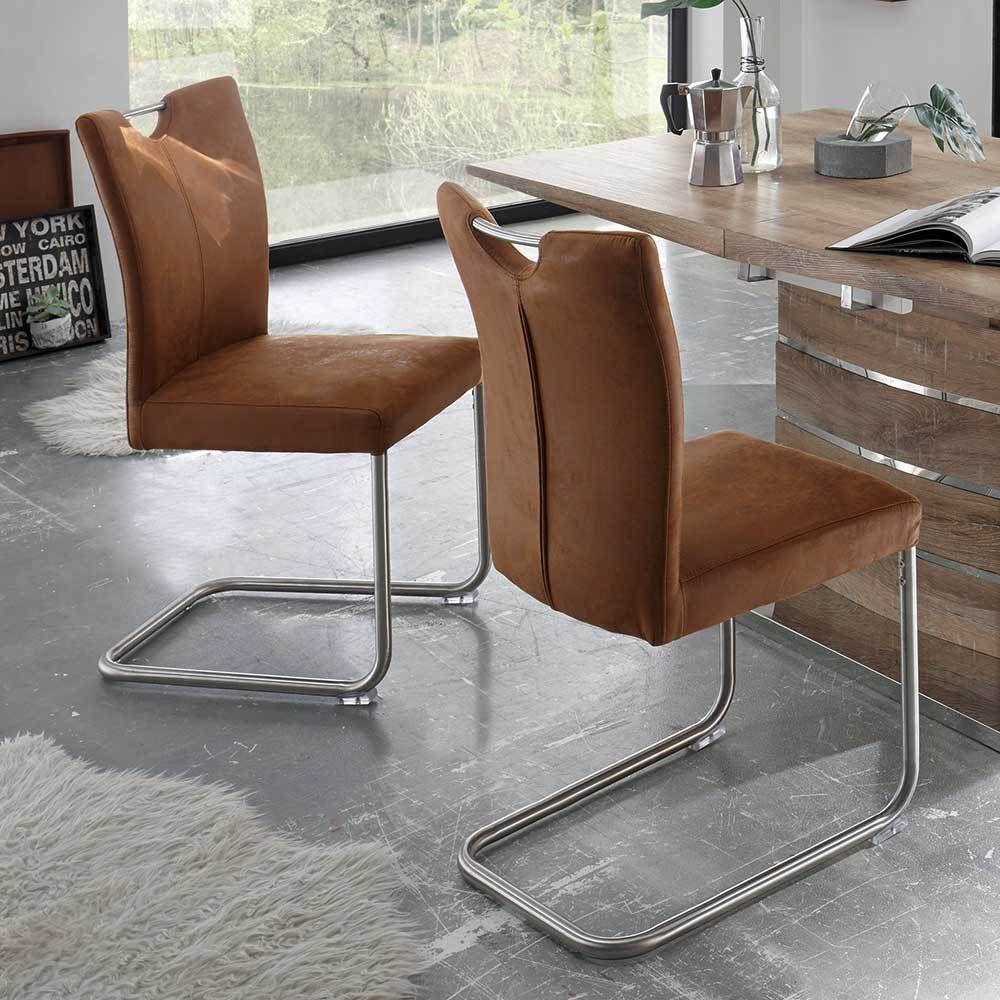 Küchenstuhl Set in Braun Microfaser Edelstahl (4er Set) Jetzt ...
