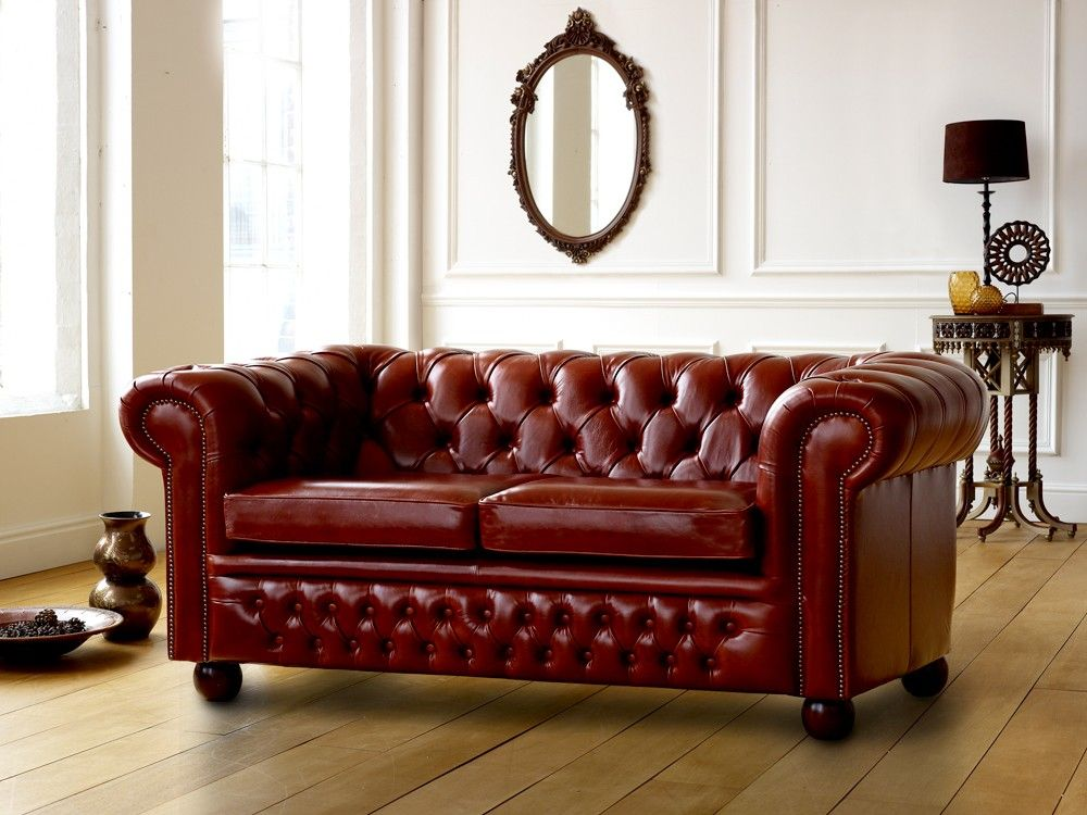 Old Hickory Tannery Red Tufted-Leather Sofa & Loveseat, Classic