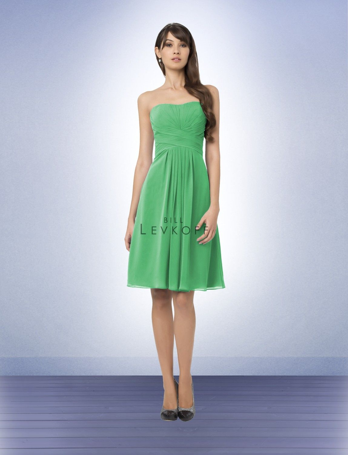 Bill Levkoff 765 Nancy S Bridal Super Kelly Green Chiffon Strapless Short Dress With Modified Sweetheart Neckline Pleats And Tucks Accent The Bodice