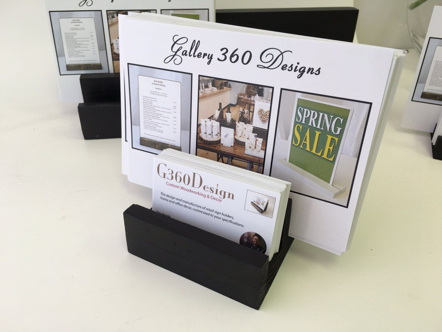 Wood Business Card and Sign Holder, Stand Menu, Table Menu, Wooden