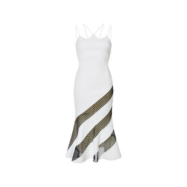 David Koma Lace Insert Fit and Flare Midi Dress ($2,010) ❤ liked on Polyvore featuring dresses, fit flare midi dress, white dresses, geometric print dress, lace panel dress and white fit-and-flare dresses