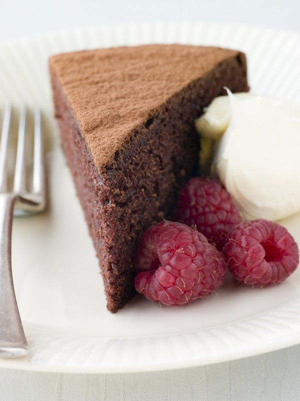 Flourless Chocolate Espresso Cake with Raspberry Sauce