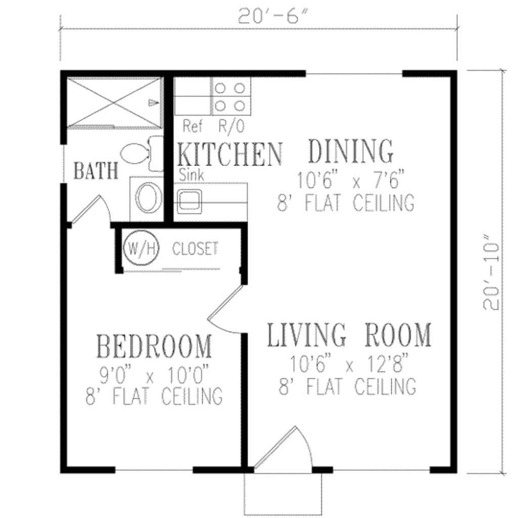 Traditional Style House Plan 1 Beds 1 Baths 421 Sq Ft Plan 57 397 Guest House Plans Basement House Plans House Floor Plans