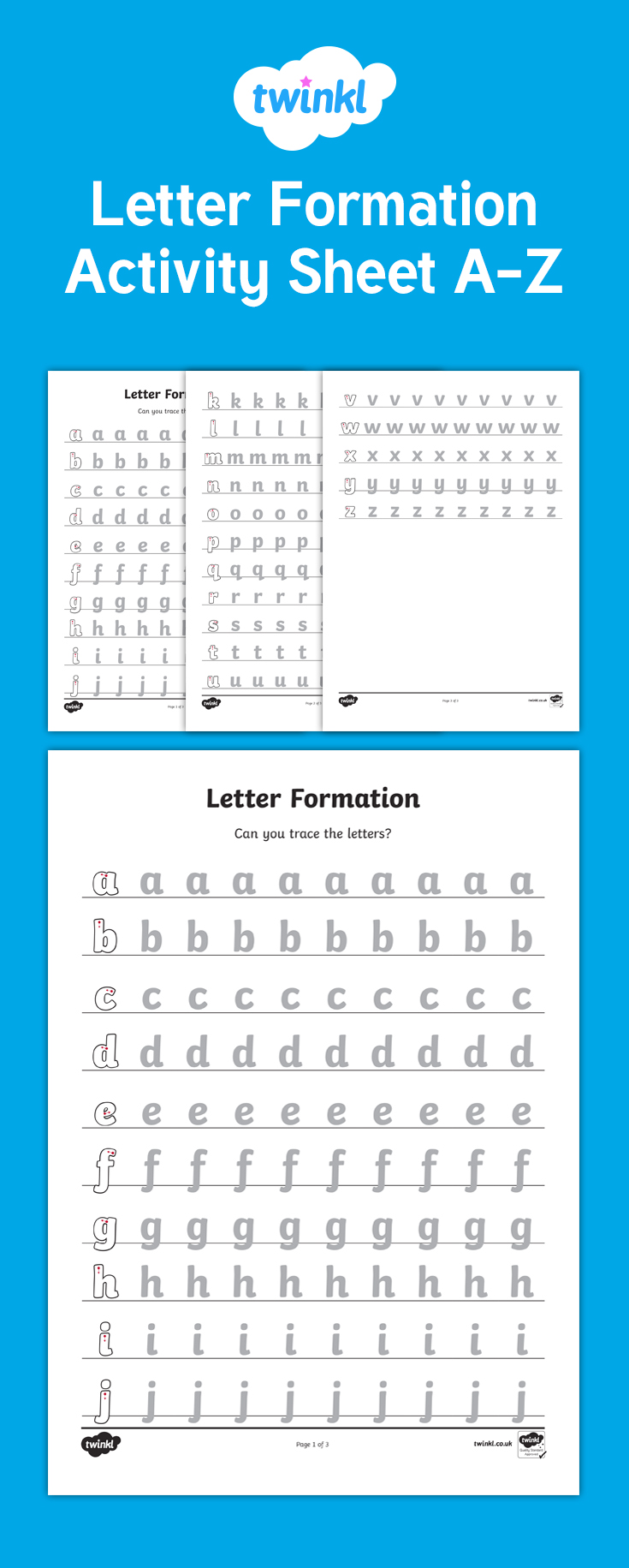 A Set Of Letter Formation Worksheets For Each Letter Of The