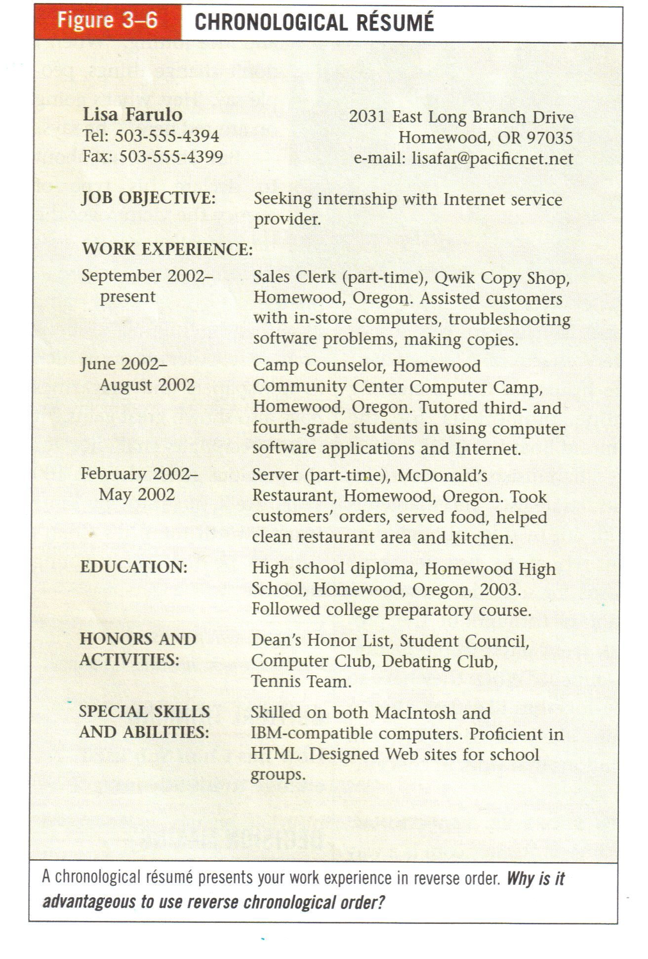 Example Resume Sample Chronological Resume  Career Development Teaching Ideas