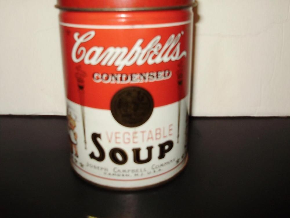 1997 Campbell's Kids Vegetable Soup Oversized Metal Can Still Bank Removable Lid #CampbellsSoup