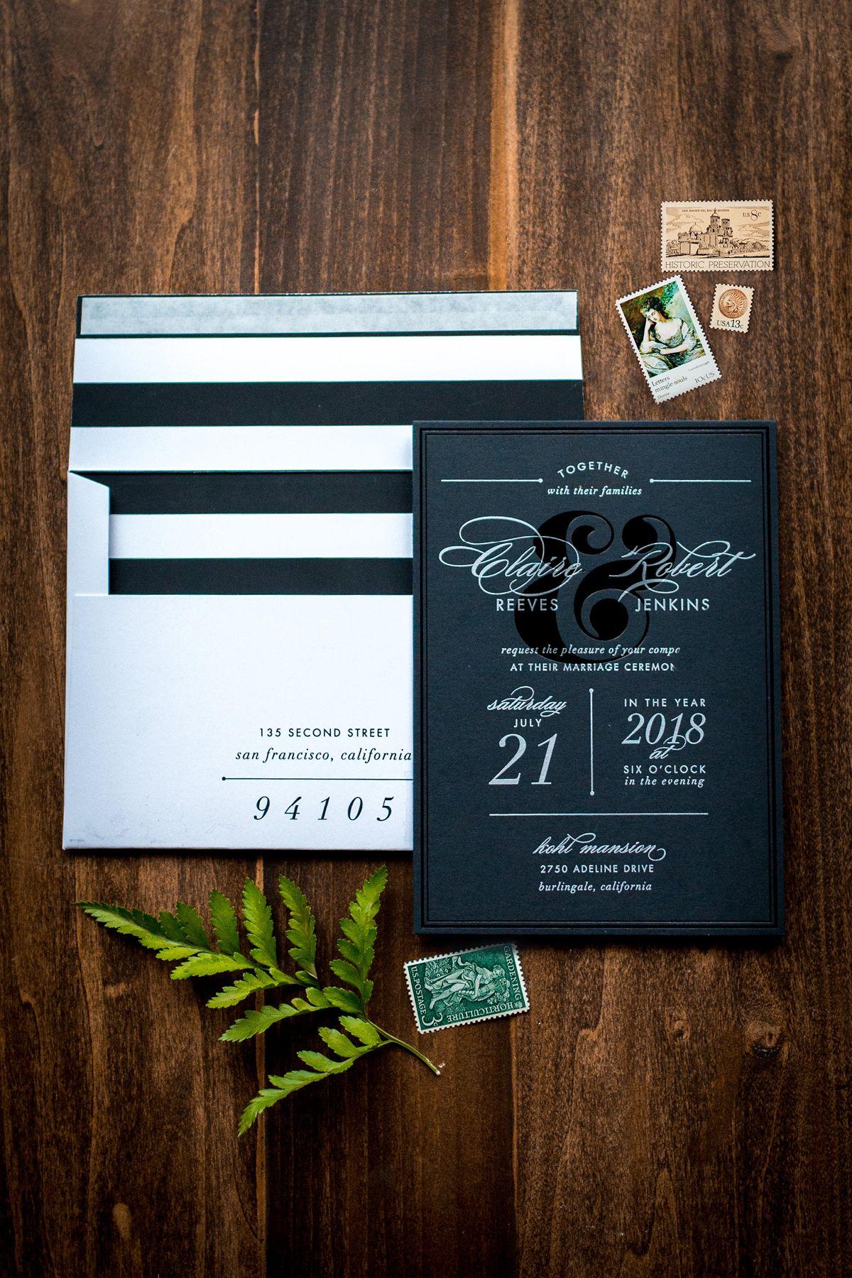 Modern Black Foil Wedding Invitation With Stripe Envelope Liner By