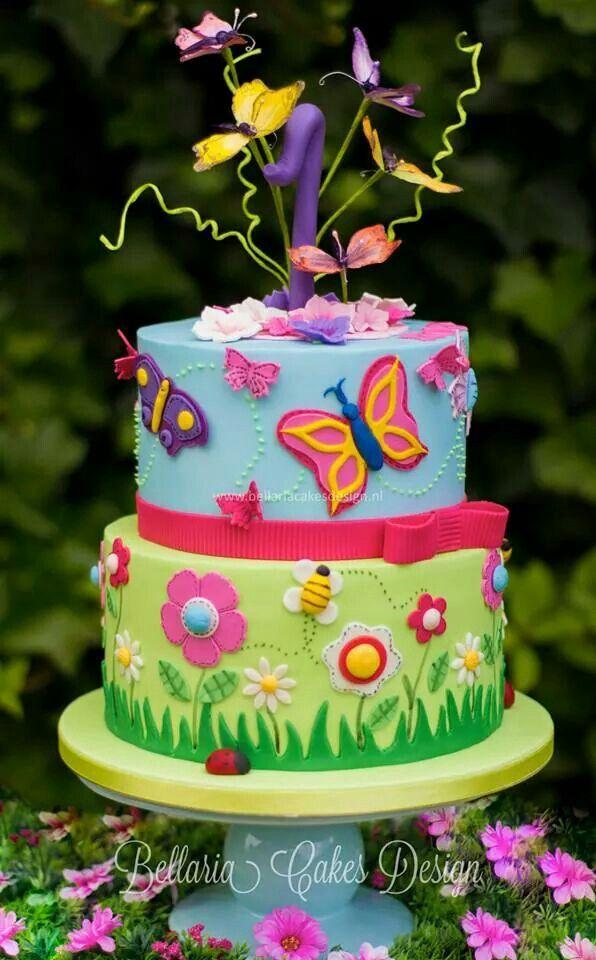 Flowers Butterflies Garden Birthday Cake