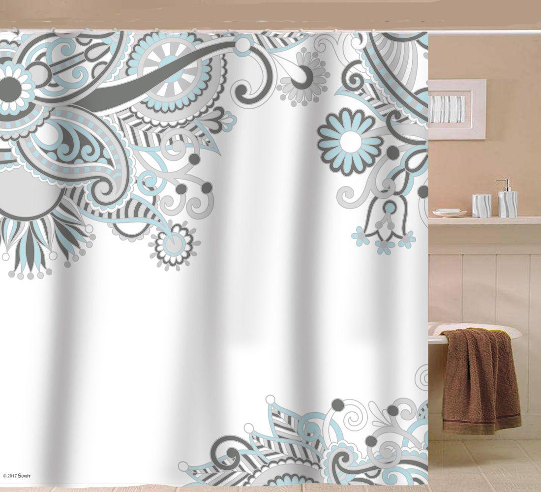 Sunlit Designer Floral Swirls Indian Print Fabric Shower Curtain
