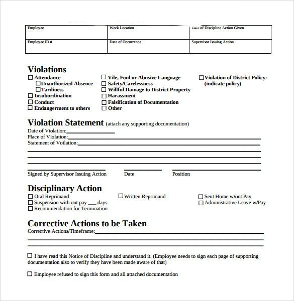 Employee Write Up Form Free Download Employee Write Up Form