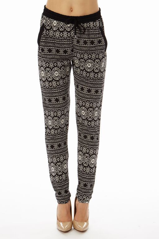 Black Printed 2 Pocket straight Bottom Pants
