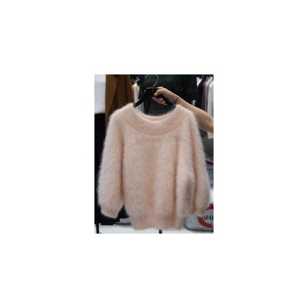 Furry Knit Sweater (91 BRL) ❤ liked on Polyvore featuring tops ...