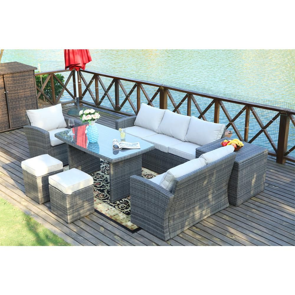 outdoor sectional dining set on Direct Wicker Cannes Variegated Grey 7 Piece Wicker Outdoor Sectional Set With Beige Cushions Outdoor Sectional Furniture Patio Furnishings Outdoor Sofa Sets
