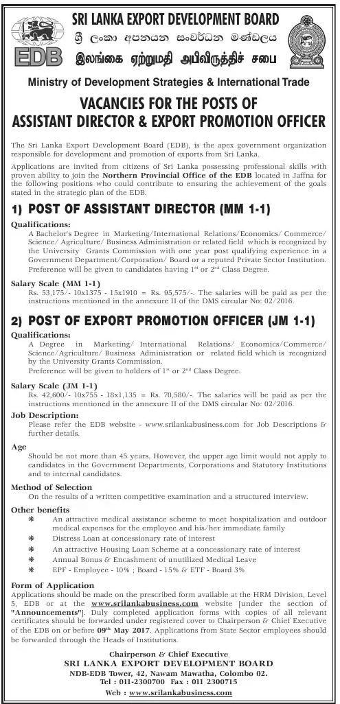 Vacancies At Sri Lanka Export Development Board Career First