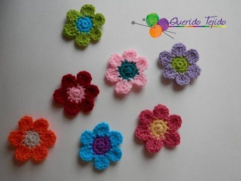 Flor de 6 petalos a crochet - How to crochet a petal flower ENGLISH ...
