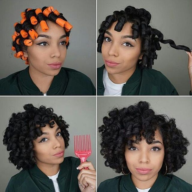 Pretty Perm Rod Set Natural Hair In 2019 Roll Hairstyle