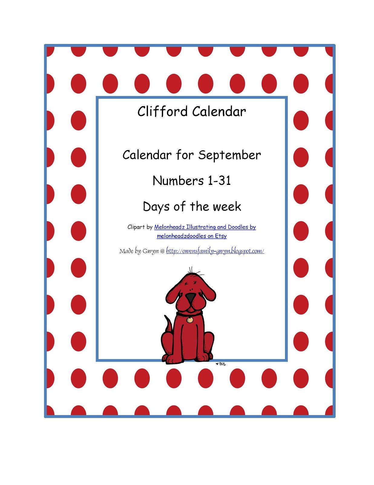Preschool Printables Clifford Calendar