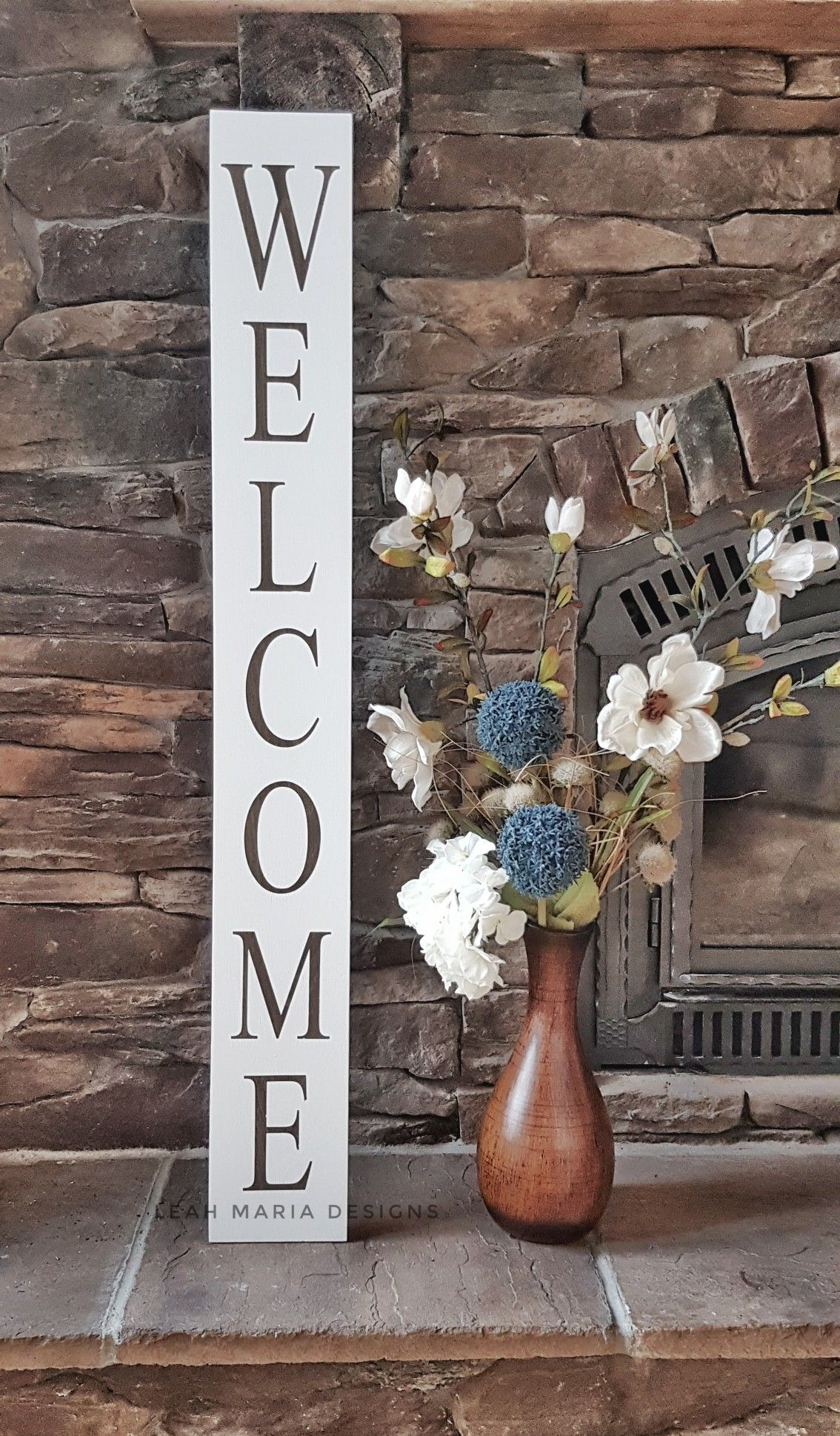 Large rustic wooden front porch welcome sign by leah maria designs