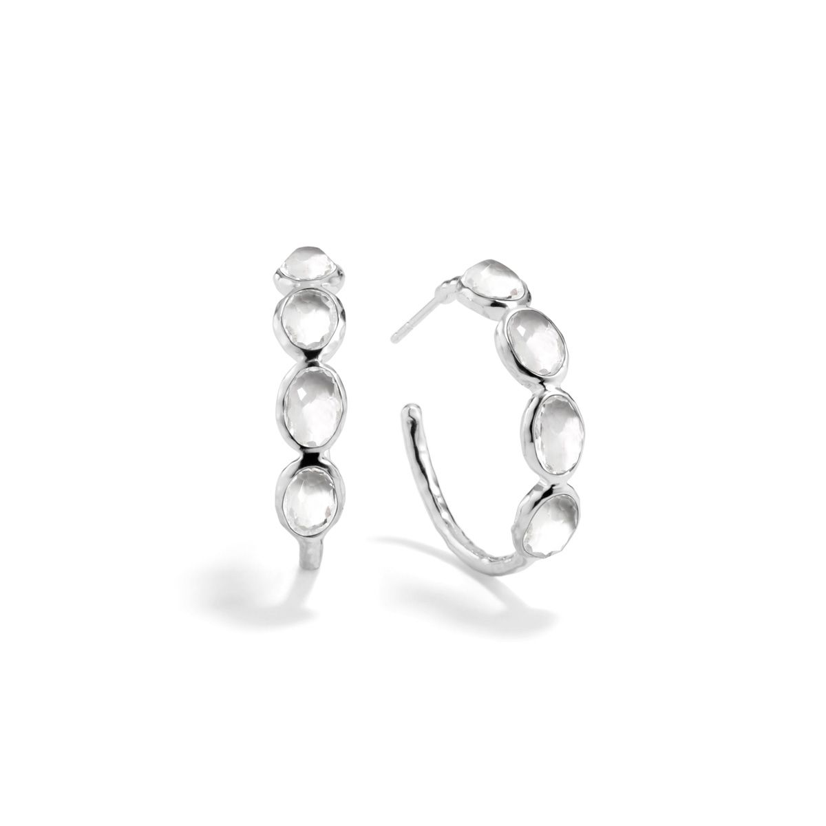 efc3ced0c IPPOLITA Rock Candy Small Hoop Earrings in Sterling Silver, Clear Quartz,  The smaller version of our Rock Candy ? hoop, this spirited earring  features ...