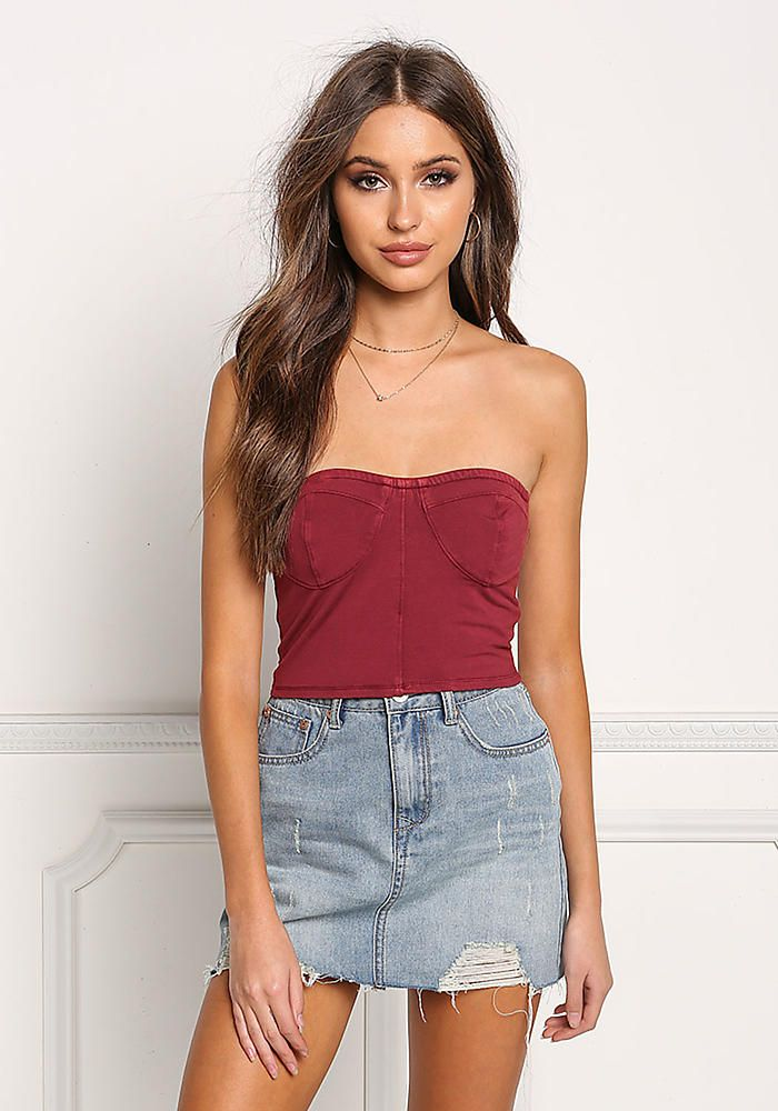 7951185ab1270b Red Bustier Strapless Crop Top - Crop Tops + Bustiers - Tops - Clothes