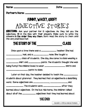Adjectives Stories Freebie Teaching Adjectives Adjectives Activities Adjectives Kinds of adjectives worksheets for