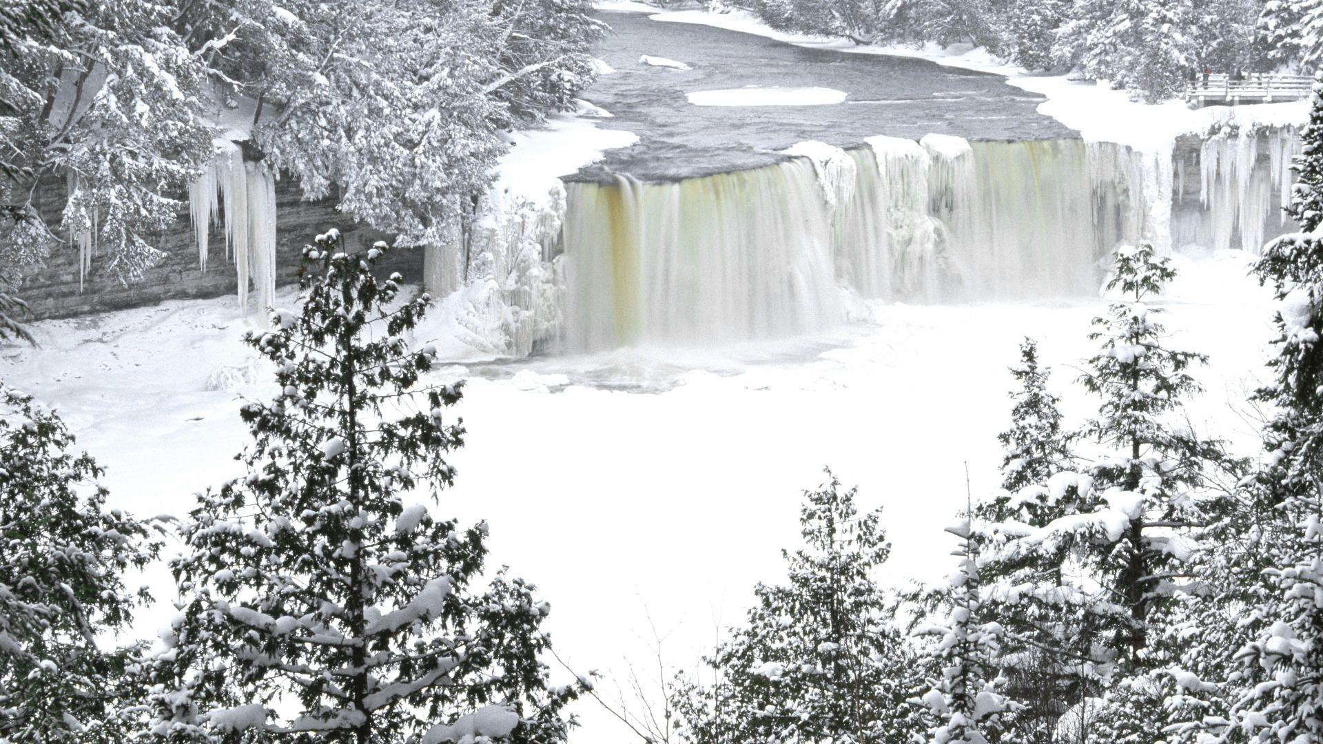 Tahquamenon Falls Michigan Winter Wallpaper Michigan Winter Frozen Tahquamenon Falls Niagara Falls