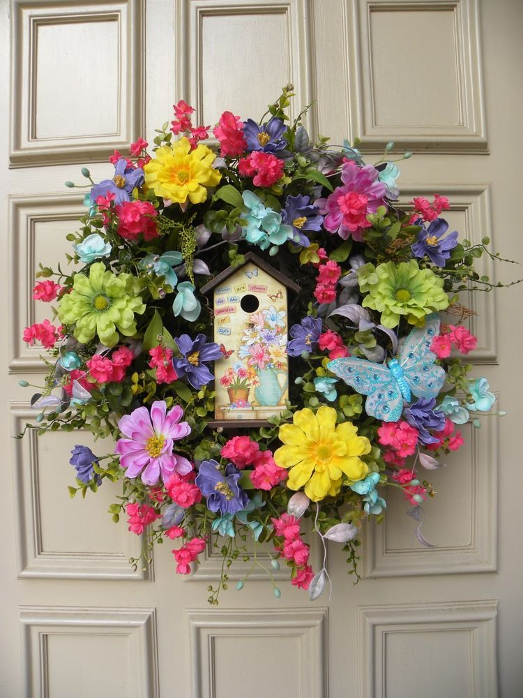 Bright colorful summer floral grapevine door wreath home for Colorful summer wreaths