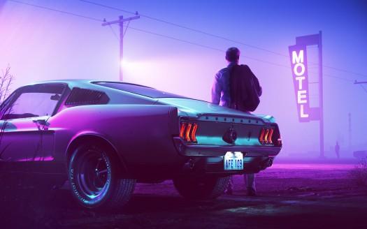 Retrowave Neon Mustang Driver 5k Neon Noir Mustang Wallpaper Neon Car