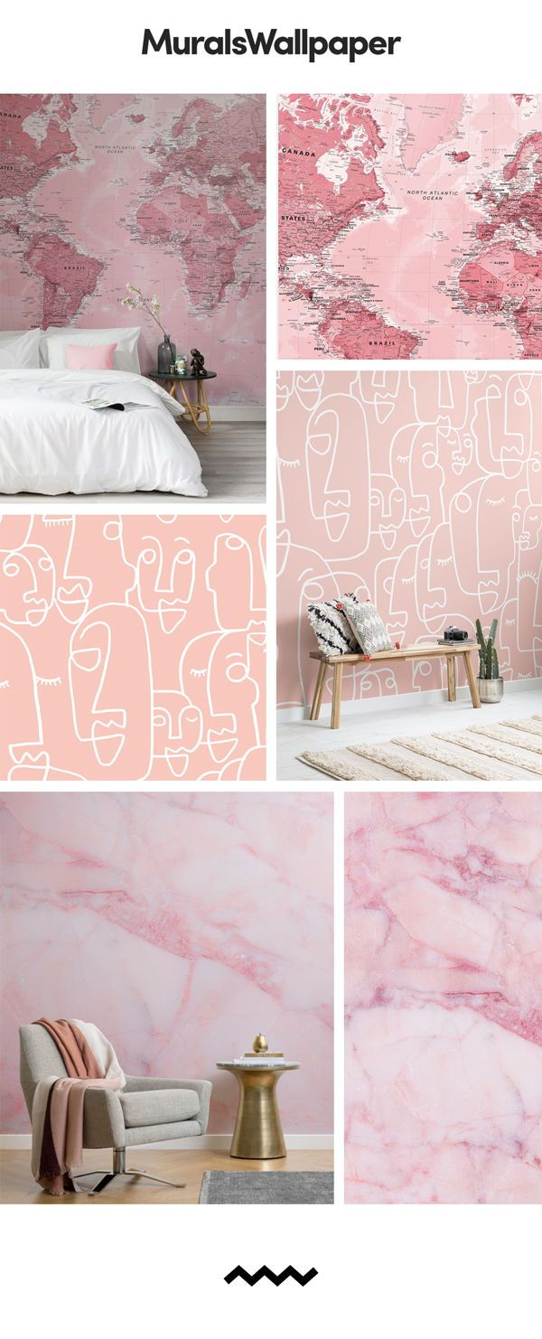 Pink wallpaper is very hot in the interior design world ...