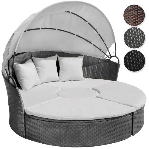 Jago Rtsl03 Rattan Sun Day Bed With Table Different Colours Grey