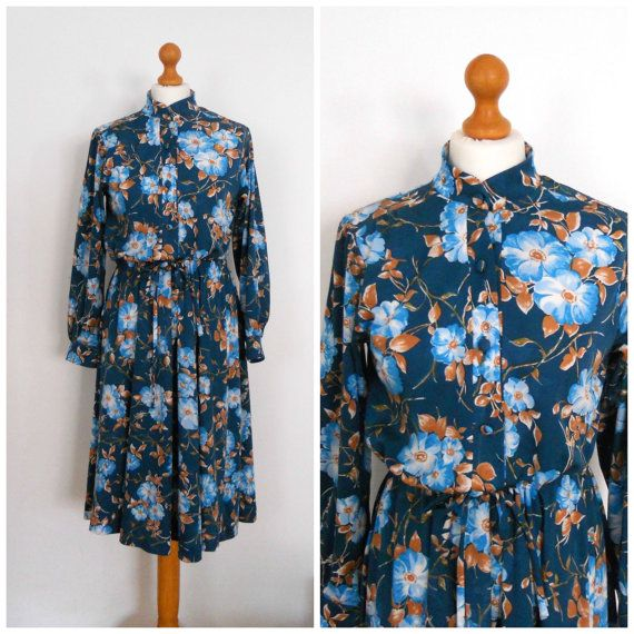 1970s 70s Peacock Blue Teal & Tan Floral dress by SkinnedKneesVintage