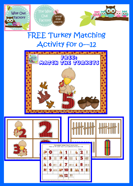 Turkey Number Matching Printable for 0 12 Free PDF